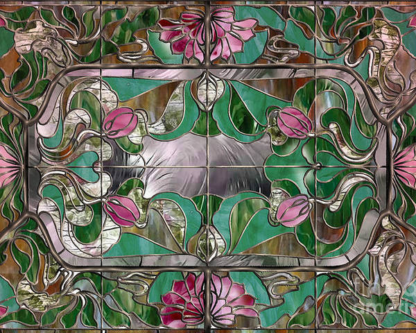 Stained Glass Window Art.Stained Glass Art Nouveau Window Poster