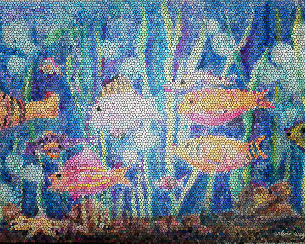 Fish Poster featuring the mixed media Stained Glass Fish by Arline Wagner