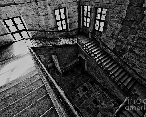 Stairs Poster featuring the photograph Stairs Black And White by Charuhas Deshpande
