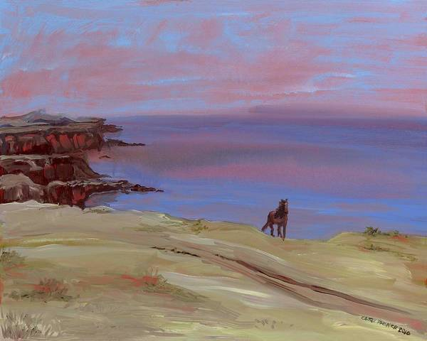 Seascape Poster featuring the painting Stallion At Dingle Bay by Cathy France