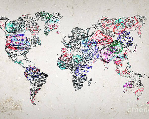 Stamp art world map poster by delphimages photo creations world map poster featuring the photograph stamp art world map by delphimages photo creations gumiabroncs Image collections