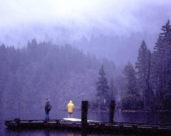 Fishing Poster featuring the photograph Standing In The Mist 2 Wc by Lyle Crump