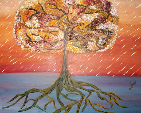 Oil Painting Poster featuring the painting Standing In The Storm by Alexandra Torres