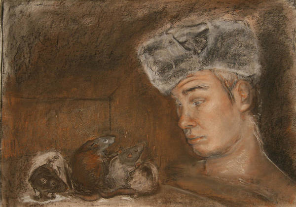 Charcoal Poster featuring the painting Stanislav And 4 by Danielle Wilbert