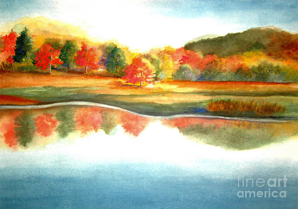 Landscape Poster featuring the painting Stanley Park In The Fall by Vivian Mosley