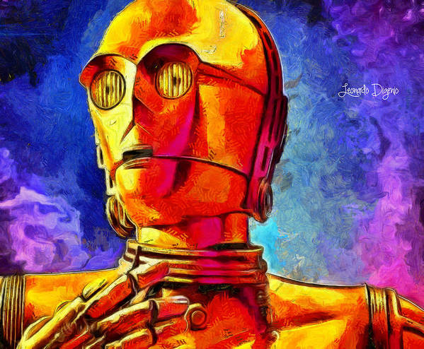 Star Wars 7 Poster featuring the painting Star Wars C3po Droid by Leonardo Digenio