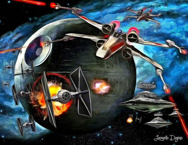 Star Wars 7 Poster featuring the painting Star Wars Worlds At War by Leonardo Digenio