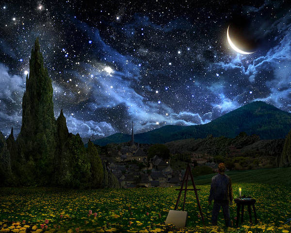 Van Gogh Poster featuring the digital art Starry Night by Alex Ruiz
