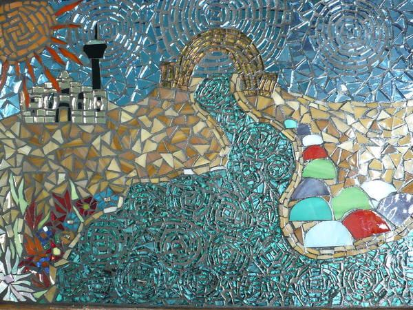 Riverwalk. Texas Poster featuring the glass art Starry Riverwalk by Ann Salas