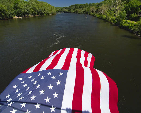 Border Poster featuring the photograph Stars And Stripes Flies Over The Delaware River by George Oze