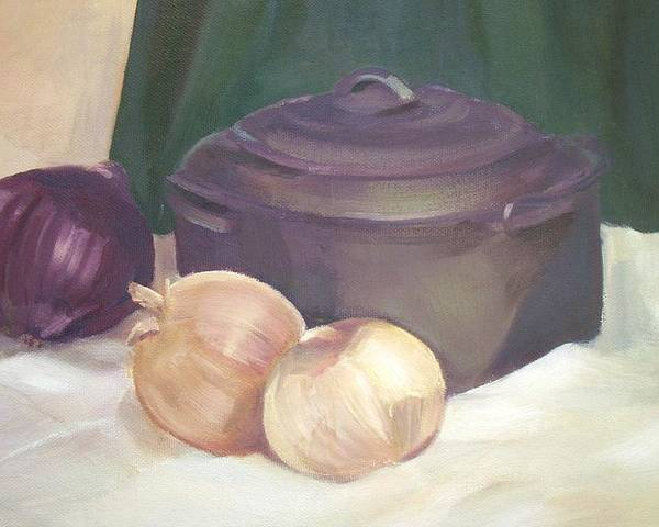 Still Life Poster featuring the painting Starting Stew by Jan Cline-Zimmerman