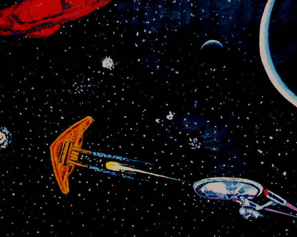 Startrel.scoemce Foxopm.s[ace.[;amets.stars Poster featuring the painting StarTrek by Stan Hamilton