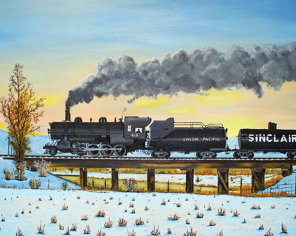 Trains-steamtrains-paintings-landscape Trains -landscapes Skies- Locomotives Bridges Poster featuring the painting Steam Train One From Mike Massee Photo by Stephen Ponting