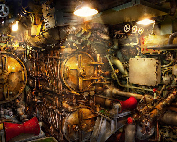 Steampunk Poster featuring the photograph Steampunk - Naval - The Torpedo Room by Mike Savad