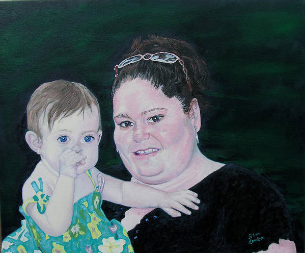 Portrait Poster featuring the painting Stephanie and Ella by Stan Hamilton