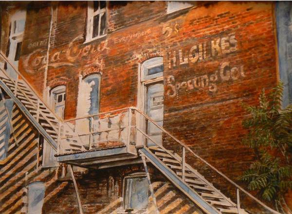 Urban Poster featuring the painting Steps In Time by Thomas Akers