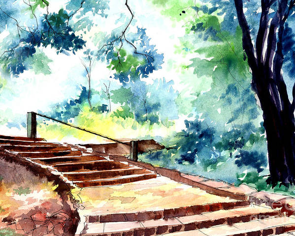 Landscape Poster featuring the painting Steps To Eternity by Anil Nene