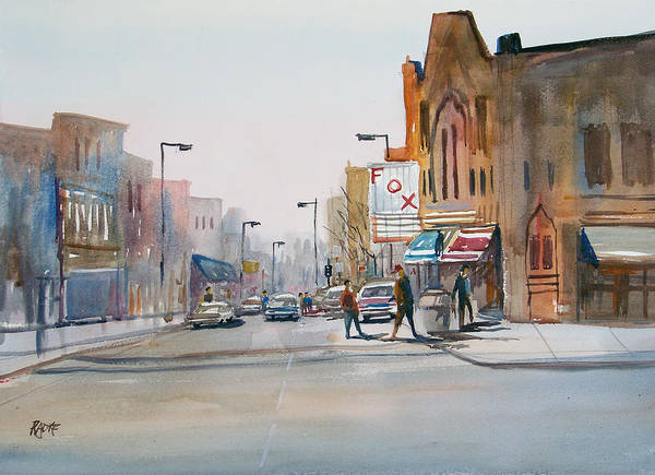 Watercolor Poster featuring the painting Steven's Point - Downtown by Ryan Radke
