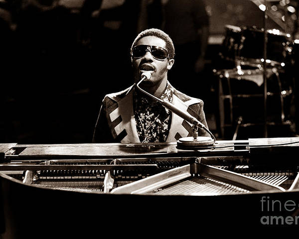 Stevie Wonder Poster featuring the photograph Stevie Wonder Softer Gentle Mood - Sepia by Chris Walter