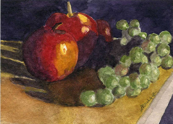 Watercolor Poster featuring the painting Still Apples by Lynne Reichhart