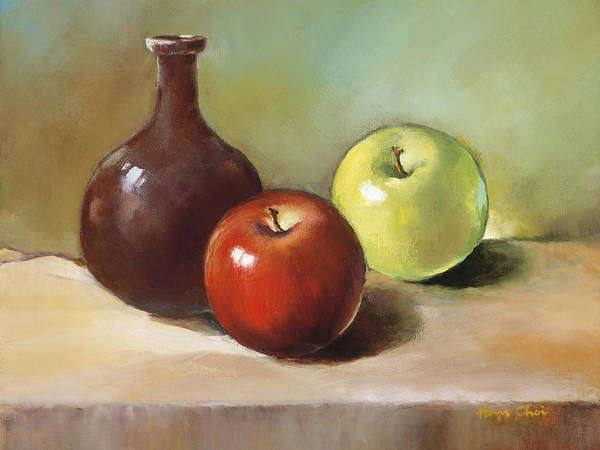 Apple Poster featuring the painting Still Life I by Han Choi - Printscapes