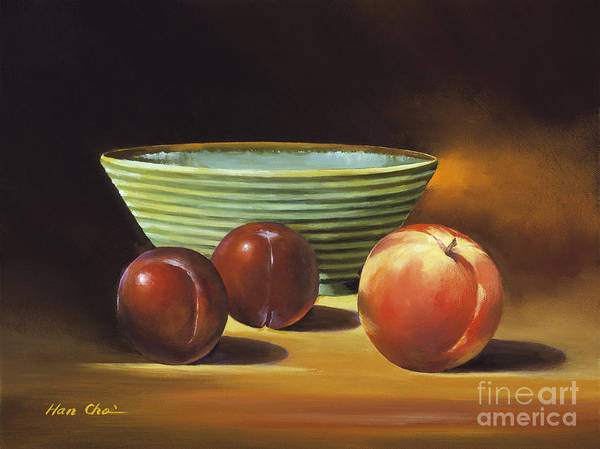 Apple Poster featuring the painting Still Life II by Han Choi - Printscapes