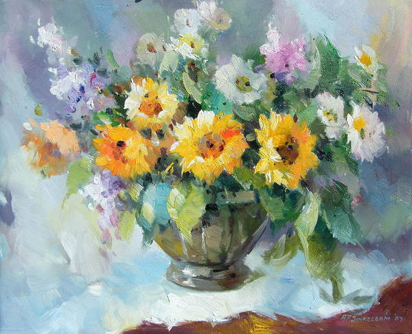 Still Life Flowers Poster featuring the painting Still Life by Imagine Art Works Studio