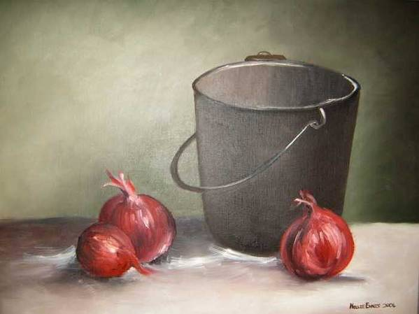 Bucket Poster featuring the painting Still life onions by Nellie Visser