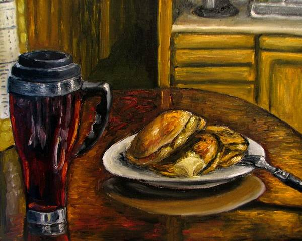 Still Life Painting Poster featuring the painting Still Life Pancakes And Coffee Painting by Natalja Picugina