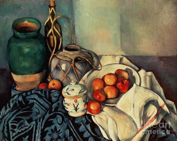Still Poster featuring the painting Still Life With Apples by Paul Cezanne