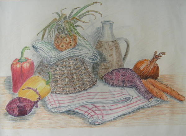 Still Life Poster featuring the painting Still Life With Baby Pineapple by Geraldine Leahy