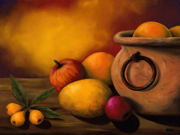 Stilllife Poster featuring the painting Still Life With Ceramic Pot by Enaile D Siffert