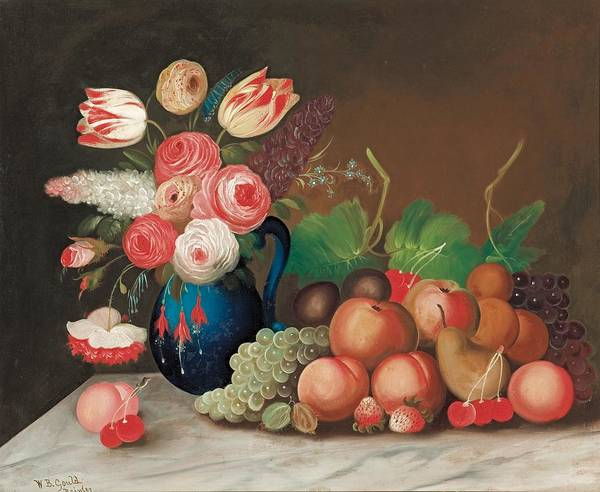Flower Poster featuring the painting Still Life With Fruit And Flowers by William Buelow Gould