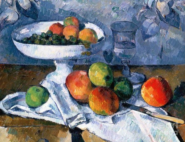 Still Life With Fruit Dish Poster featuring the painting Still Life With Fruit Dish by Paul Cezanne
