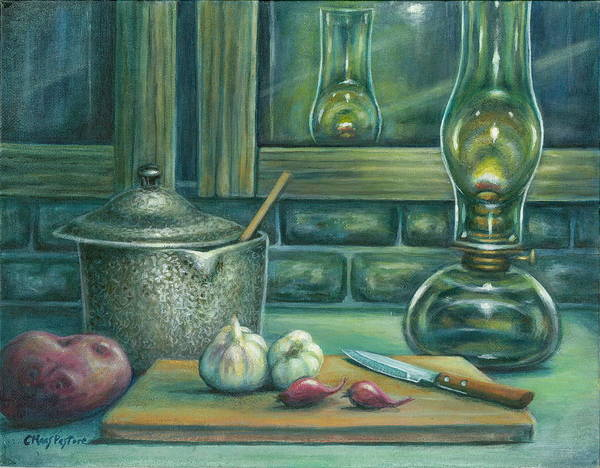 Painting Poster featuring the painting Still Life With Garlic by Colleen Maas-Pastore