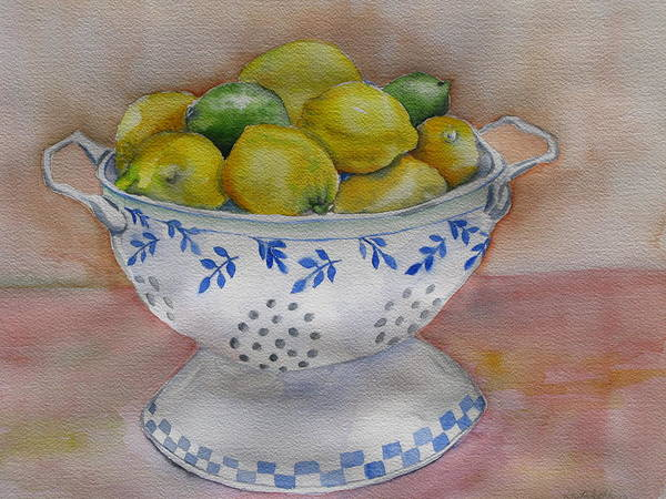 Still Life Poster featuring the painting Still Life With Lemons by Kathy Mitchell