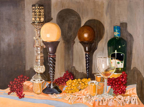 Still Life Poster featuring the painting Still Life With Orbs by Arvin Nealy