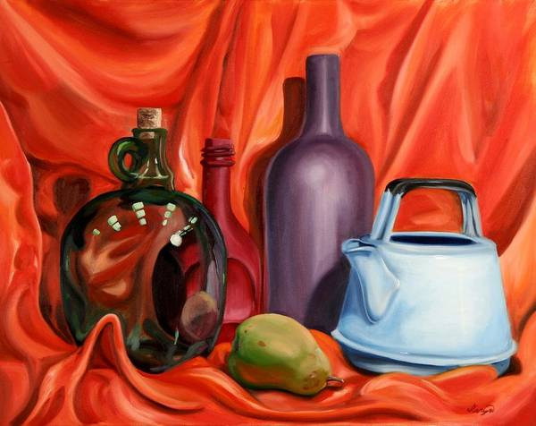 Still Life Poster featuring the painting Still Life With Pear by Maryn Crawford