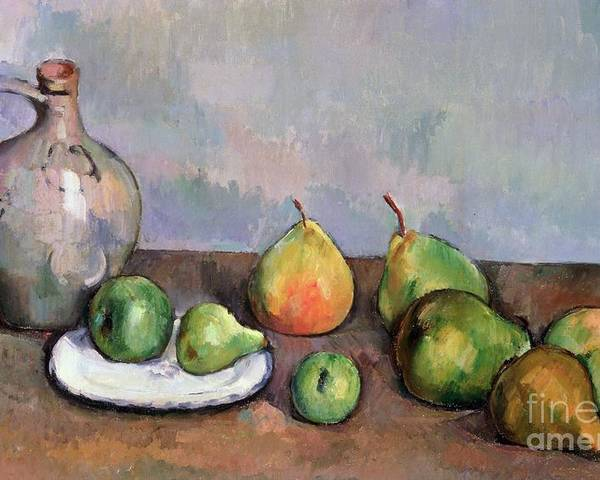 Still Poster featuring the painting Still Life With Pitcher And Fruit by Paul Cezanne