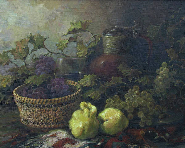 Armenian Poster featuring the painting Still-life With Quinces by Tigran Ghulyan
