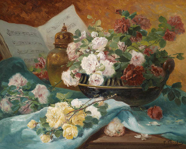 Eugene Henri Cauchois Poster featuring the painting Still Life With Roses In A Cup Ornamental Object And Score by Eugene Henri Cauchois