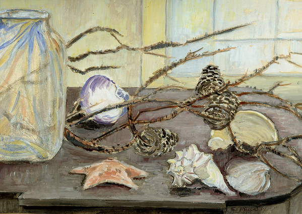 Still Life Poster featuring the painting Still Life With Seashells And Pine Cones by Ethel Vrana