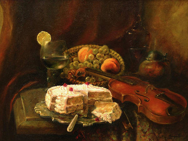 Armenian Poster featuring the painting Still-life With The Violin by Tigran Ghulyan