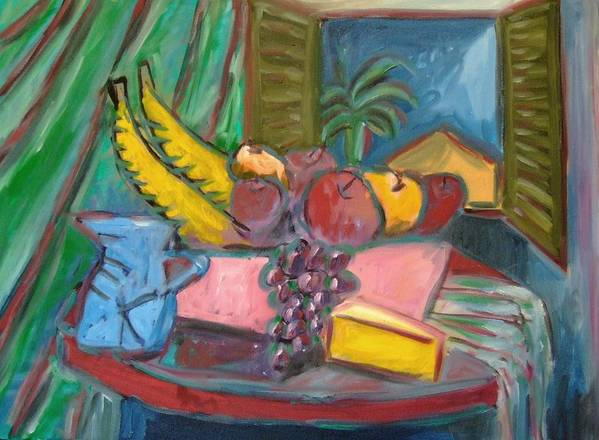 Still Life Poster featuring the painting Still Life with Window by Michael Henderson