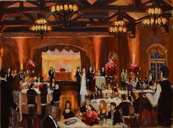 St.mary/marshall Wedding Poster featuring the painting St.mary/marshall Wedding by Ronald Bayens