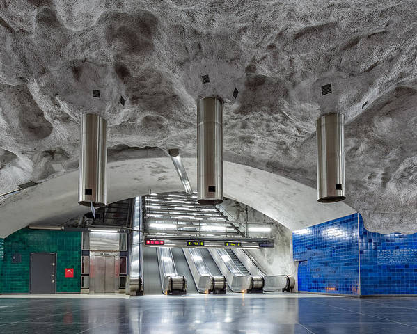 Architecture Poster featuring the photograph Stockholm Metro Art Collection - 004 by Kevin Cho