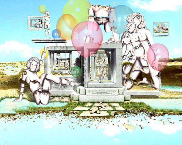 Female Stone Figures In Surreal Landscape Poster featuring the digital art Stone Figures And Balloons by Leo Malboeuf