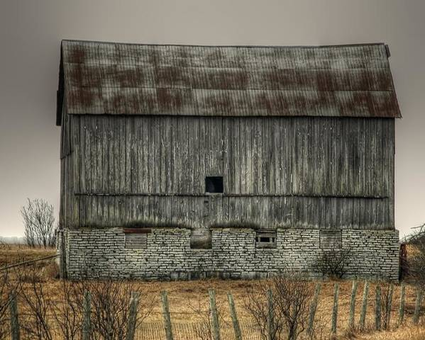 Rcouper Poster featuring the photograph Stone Foundation Barn by Rick Couper