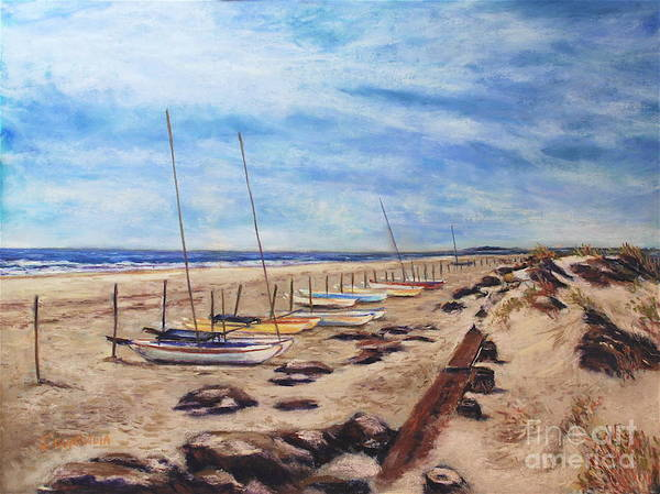 Sea Scape Poster featuring the pastel Stone Harbor by Joyce A Guariglia