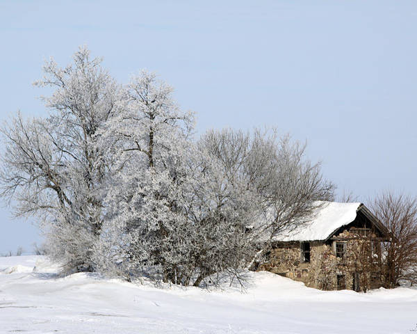 Old Cabins Poster featuring the photograph Stone House In Winter by Gary Gunderson